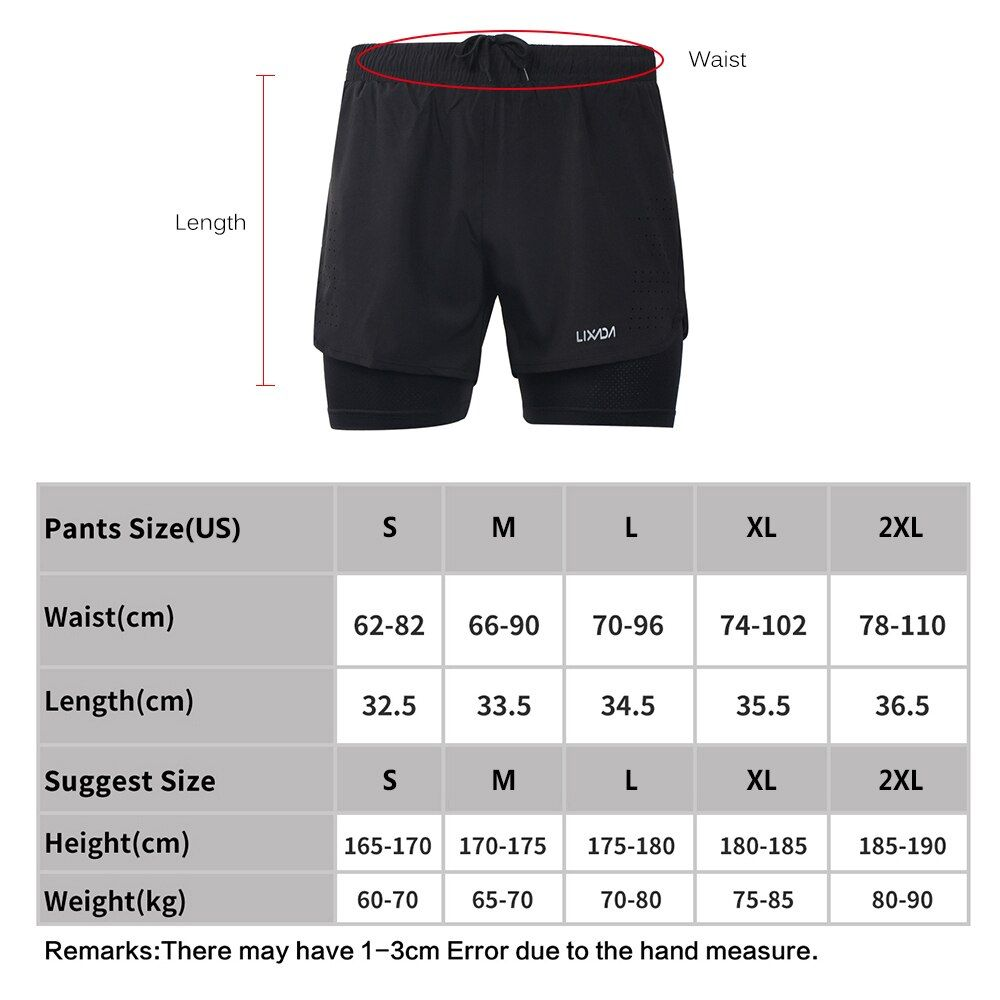 Lixada Men's 2-in-1 Running Shorts Quick Drying Breathable Active Training Exercise Jogging Cycling Shorts with Longer Liner.