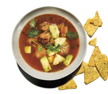 Mexican Meatball Soup- sounds yum! Add more veggies (whole garlic cloves, loads of fresh cilantro, diced red pepper and carrots) and use stock and homemade salsa.