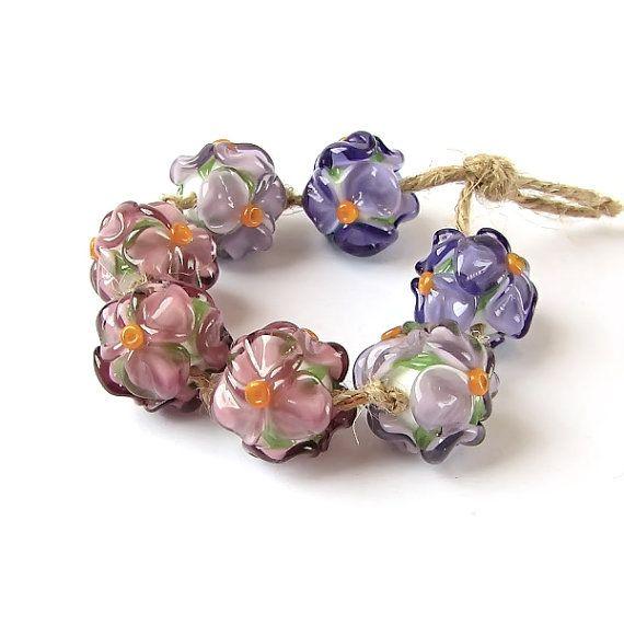 Glass Lampwork Beads Set, Handmade Glass Beads, Lampwork  Beads, Floral Glass Beads  Purple Violet