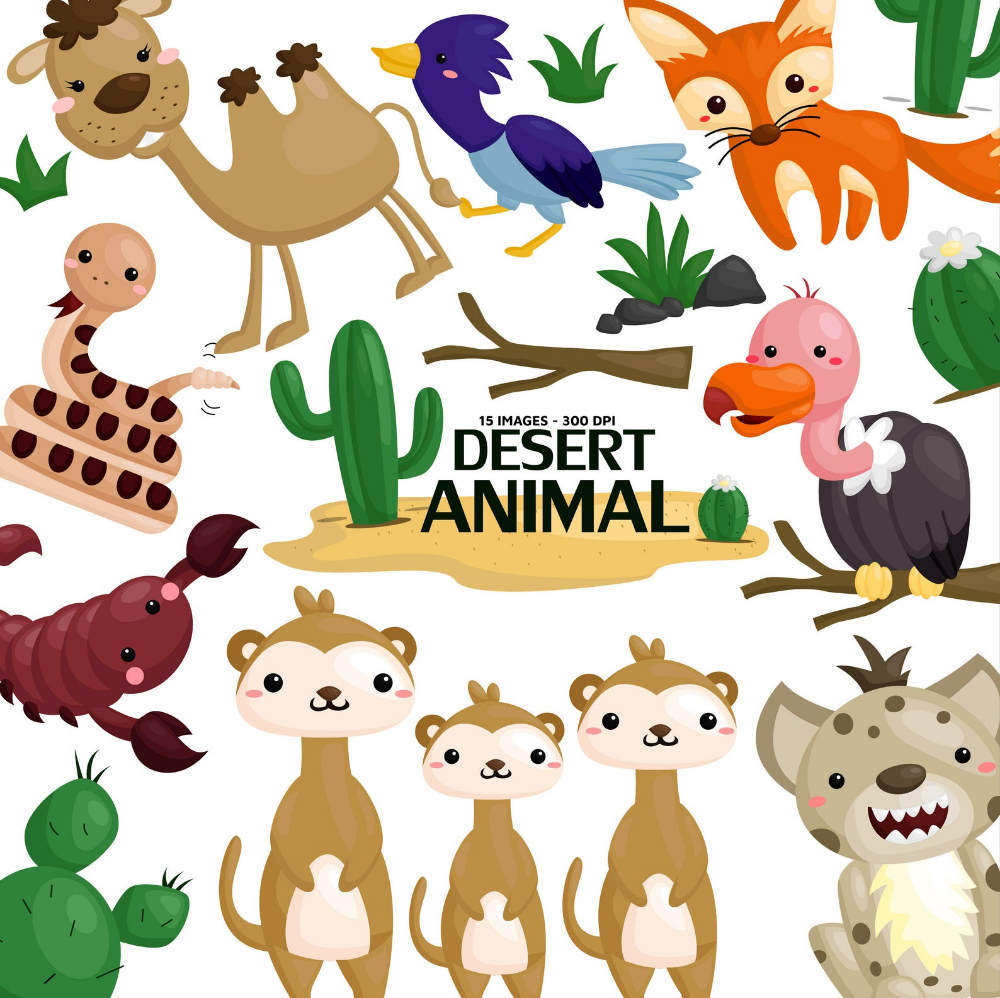 Desert Animal Clipart Cute Animal Clip Art Wild Animal Etsy Animal Clipart Desert Animals Cute Doodles Drawings