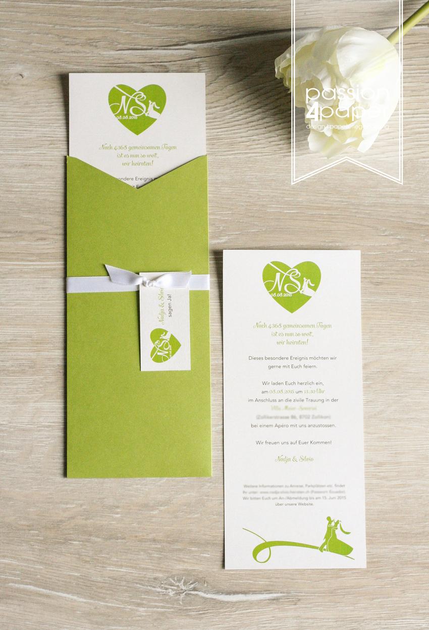 Elegante Hochzeitskarten Für Leidenschaftliche Tänzer. Mit  Einschubkarte/Einleger Und Anhängern Mit Hochzeitslogo In Grün