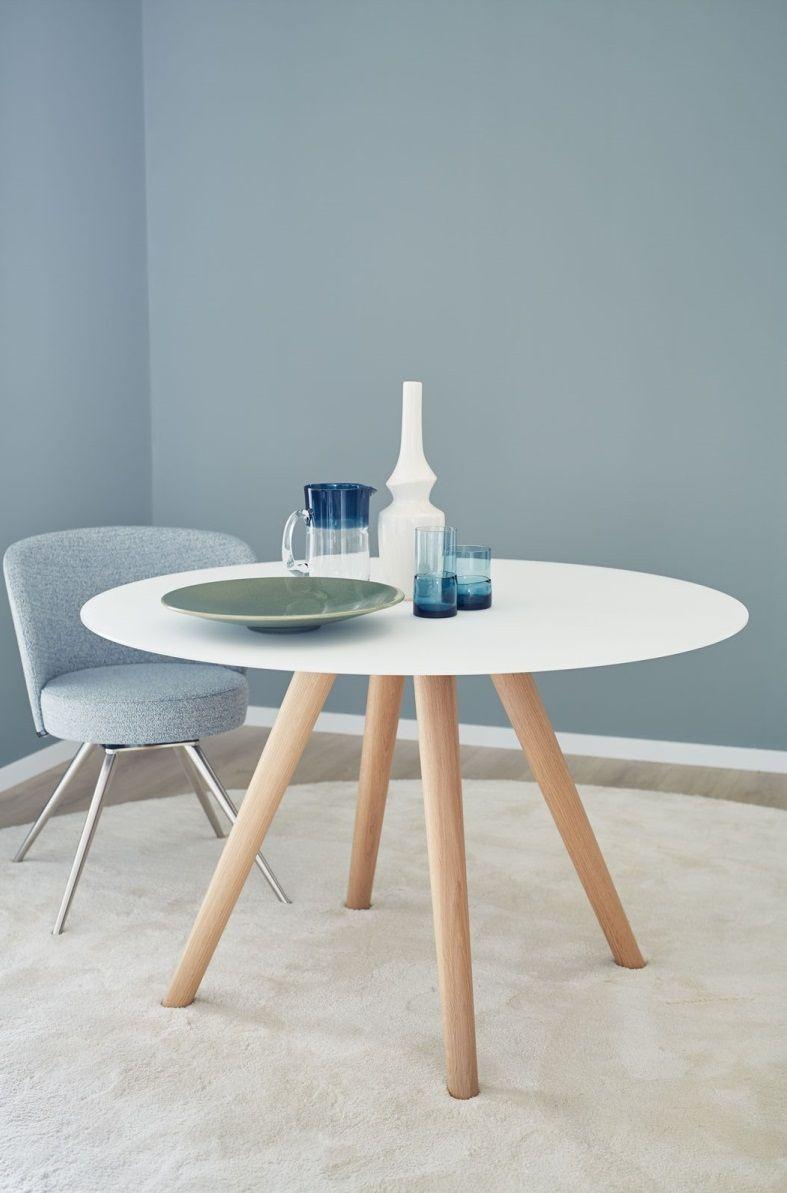 Schoner Wohnen Esstisch Round 100 Cm Glas Optiwhite Wildeiche
