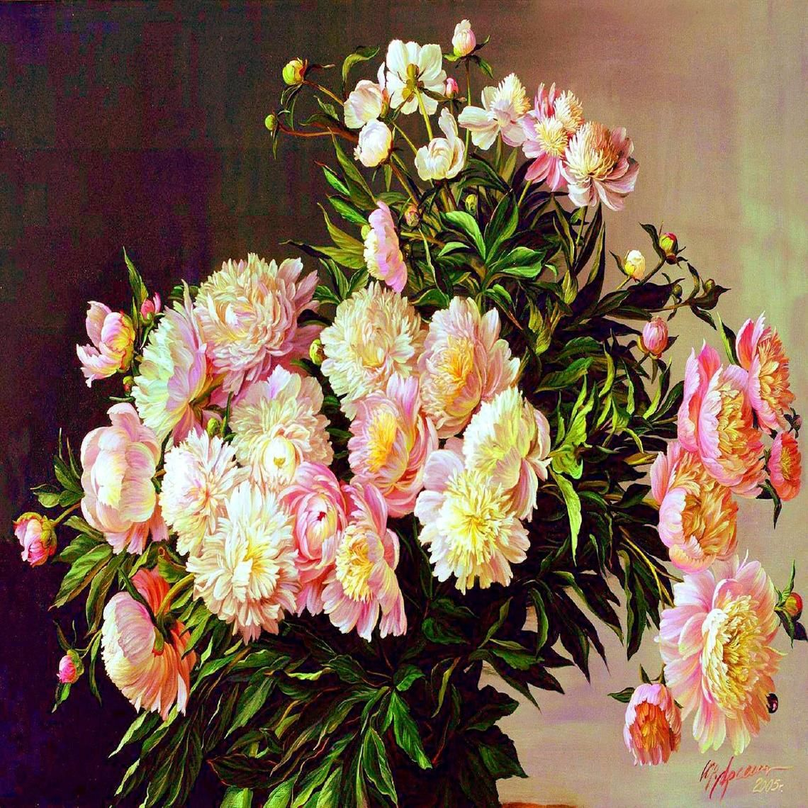 Pink And Cream Peonies