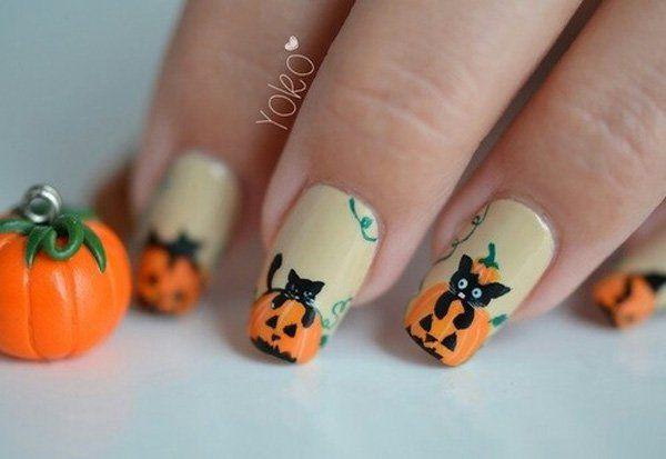 50 Cool Halloween Nail Art Ideas Cuded Cat Nail Art Halloween Nail Designs Halloween Nails