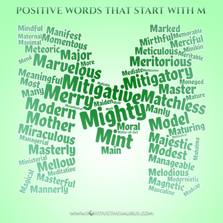 Positive adjectives that start with M Positive