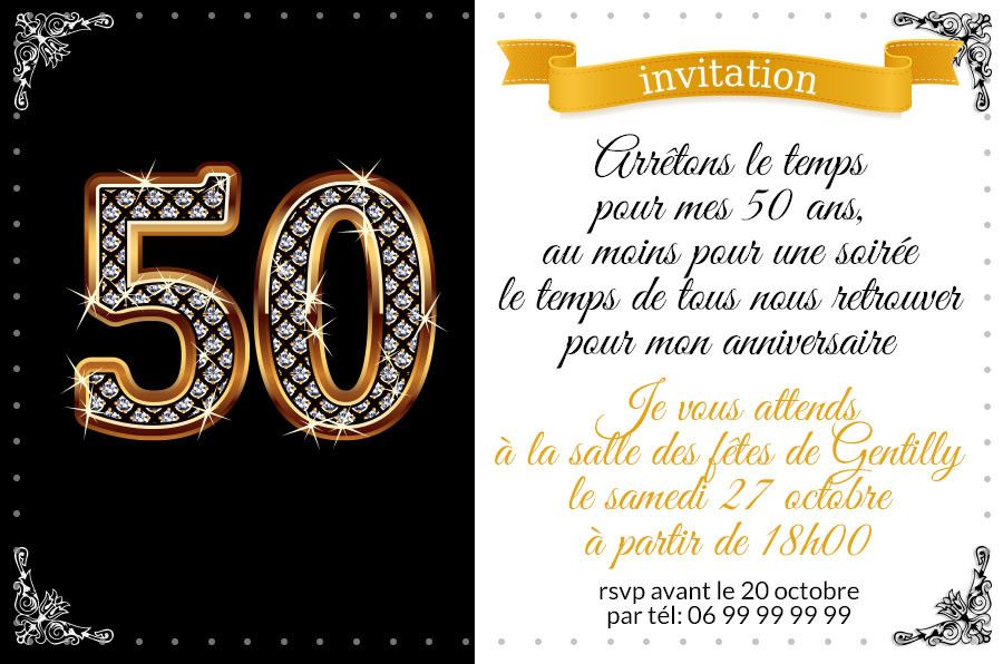 carte anniversaire 50 ans homme.Les Meilleures Carte Invitation Annivers… | Invitation ...