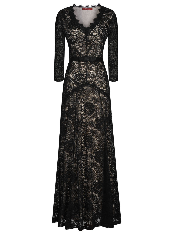 Elegant maxi dresses for weddings  Miusol Womenus Elegant Long Lace  Sleeve Formal Maxi Evening