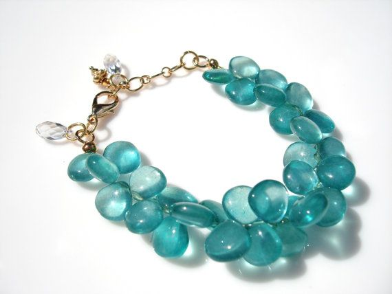 Translucent Ultramarine Green Onyx Polished Briolette Bracelet with Gold and Crystal Accents