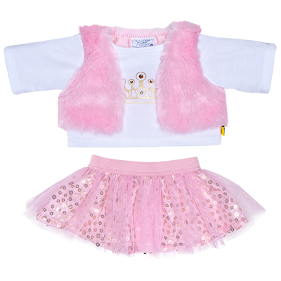 Build a Bear Pink Top w// Sequins And Crouched Vest