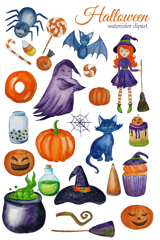 Watercolor Cute Halloween Clipart Witch Clip Art Children Etsy In 2020 Halloween Clipart Halloween Creatures Halloween Digital