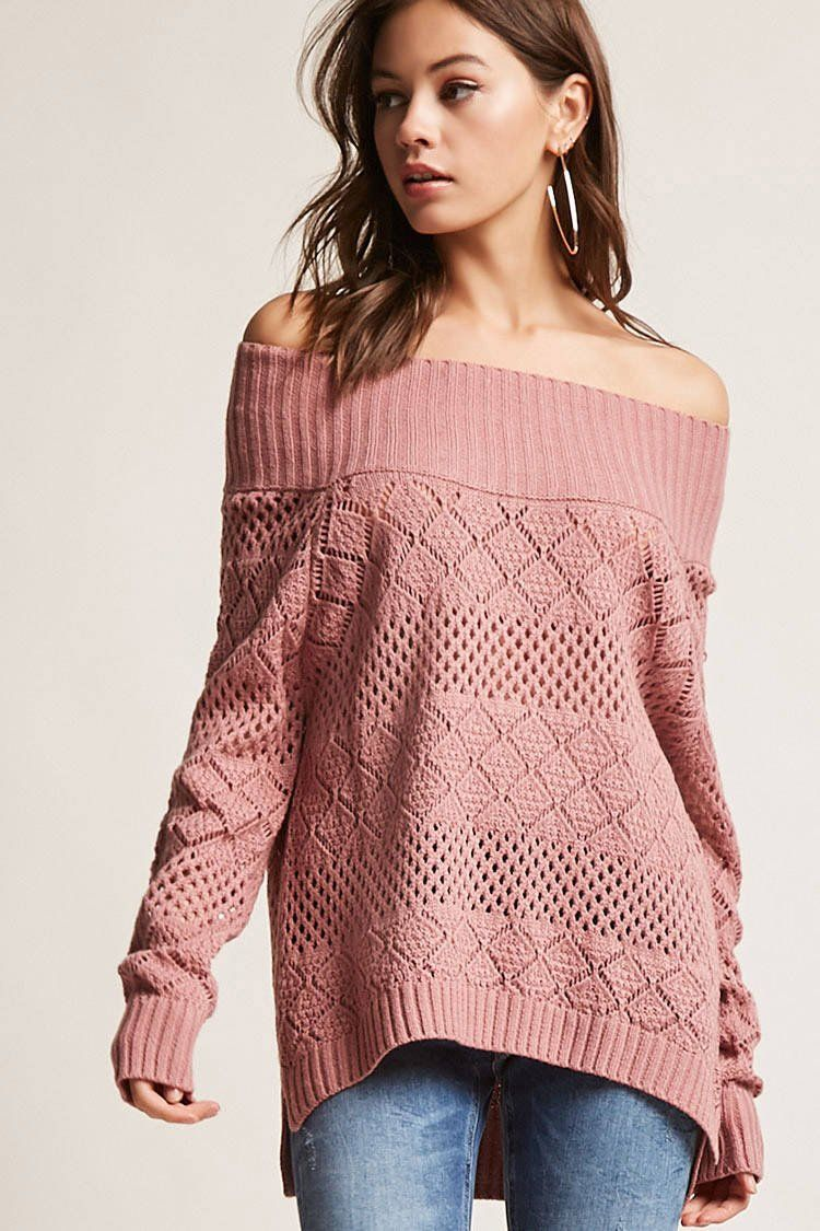 cac120b04ba203 Off-the-Shoulder Open-Knit Sweater