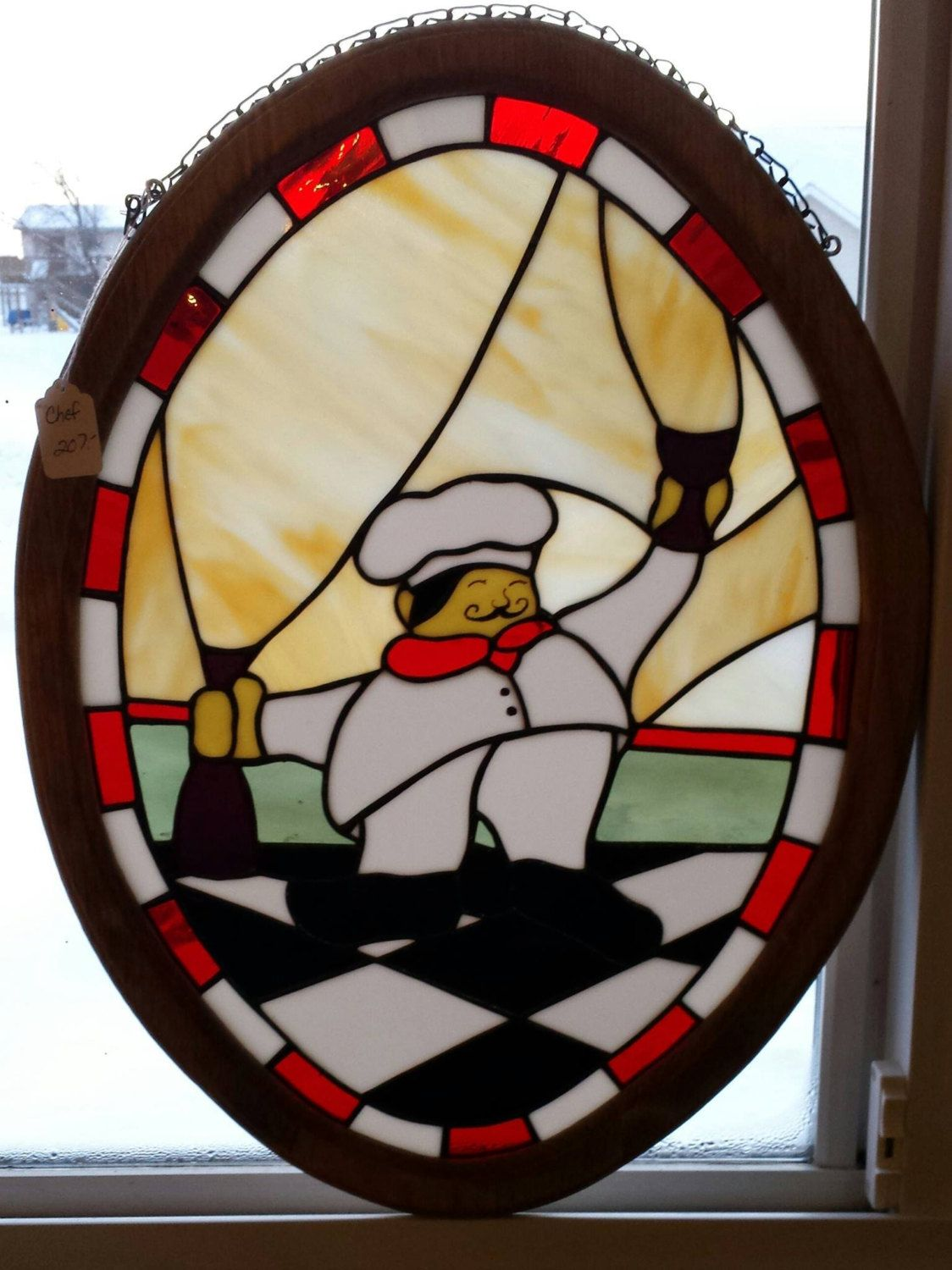 Italian Chef Stained Glass Window / Framed 17\