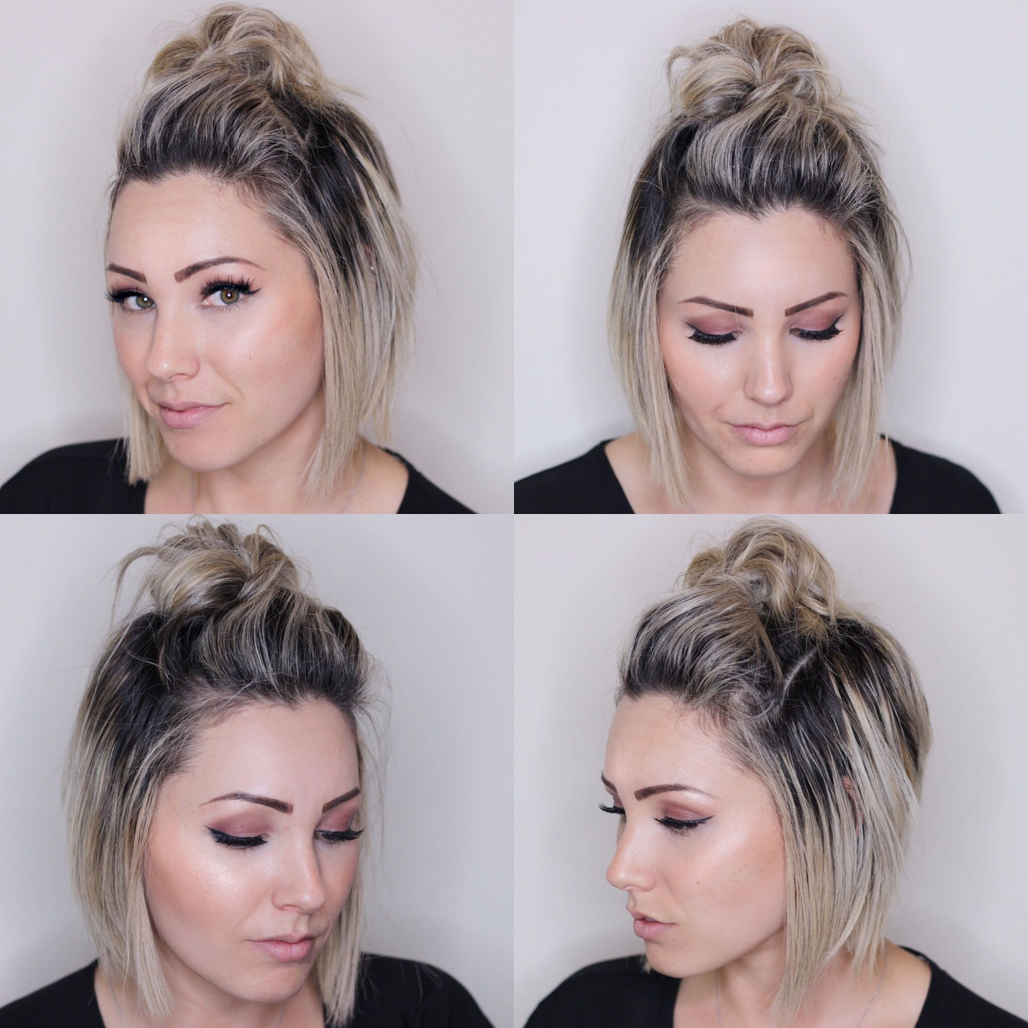 top knot for short hair. short hairstyle. soft bob haircut | ||women