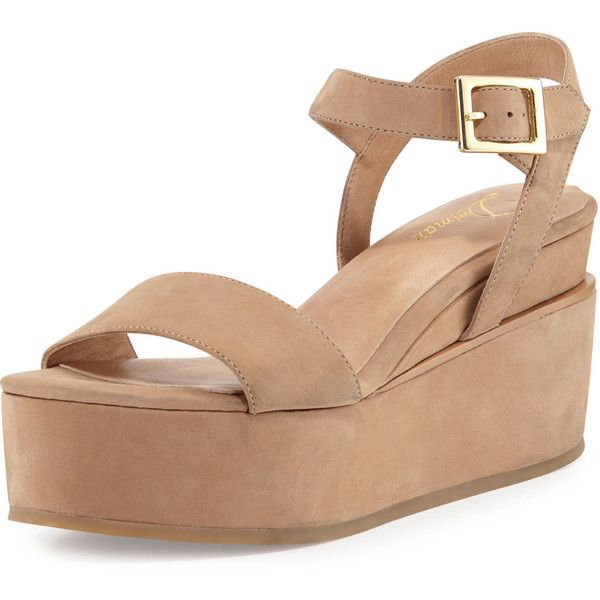 69090133335d Delman Angie Nubuck Wedge Sandal ( 115) ❤ liked on Polyvore featuring shoes