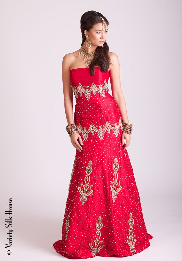 KMJ9158 Dupion pearl embd top/skirt | Red gown | Pinterest | Indian ...