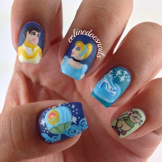 21 Super Cute Disney Nail Art Designs Pinterest Cinderella Nails