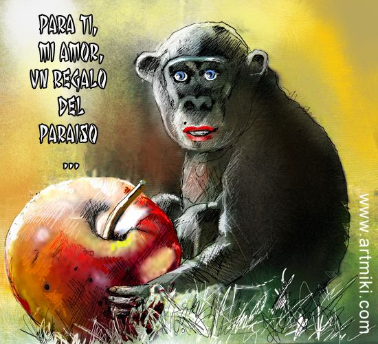 A gift from Paradise Funny painting featuring a chimpanzee holding a big red apple.