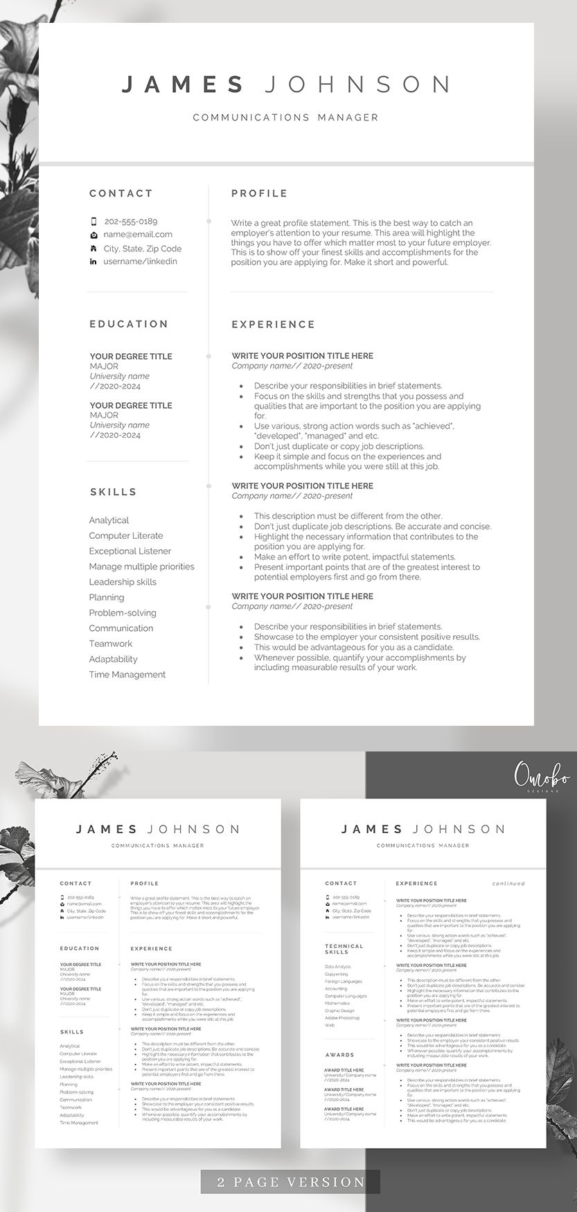 Resume template, Resume, Professional resume template