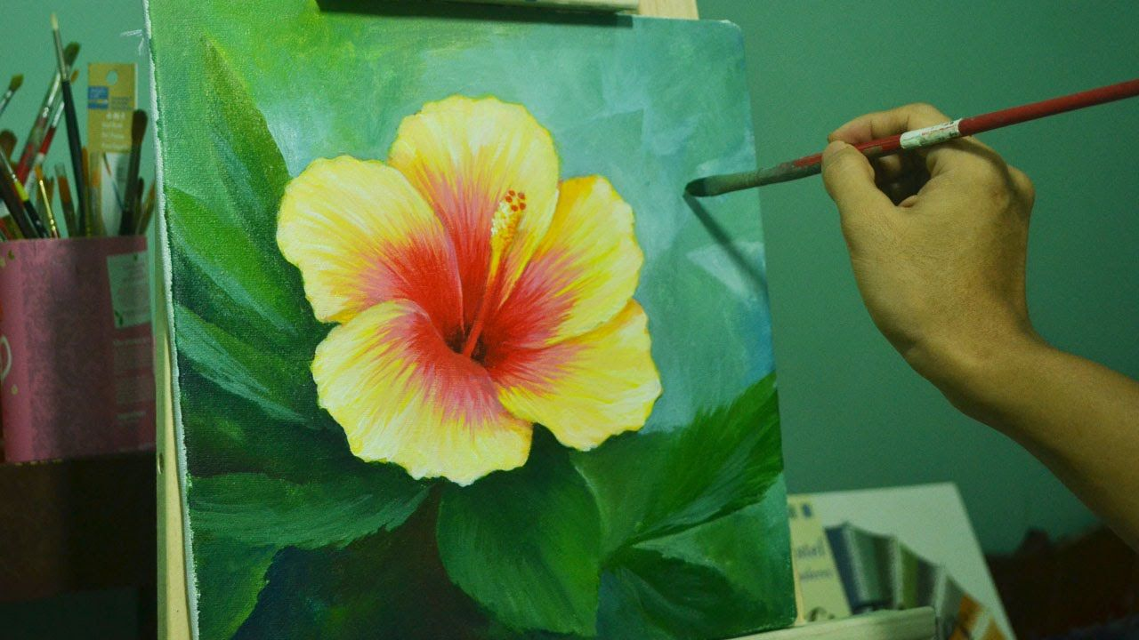 acrylic painting lesson gumamela flower by jmlisondra