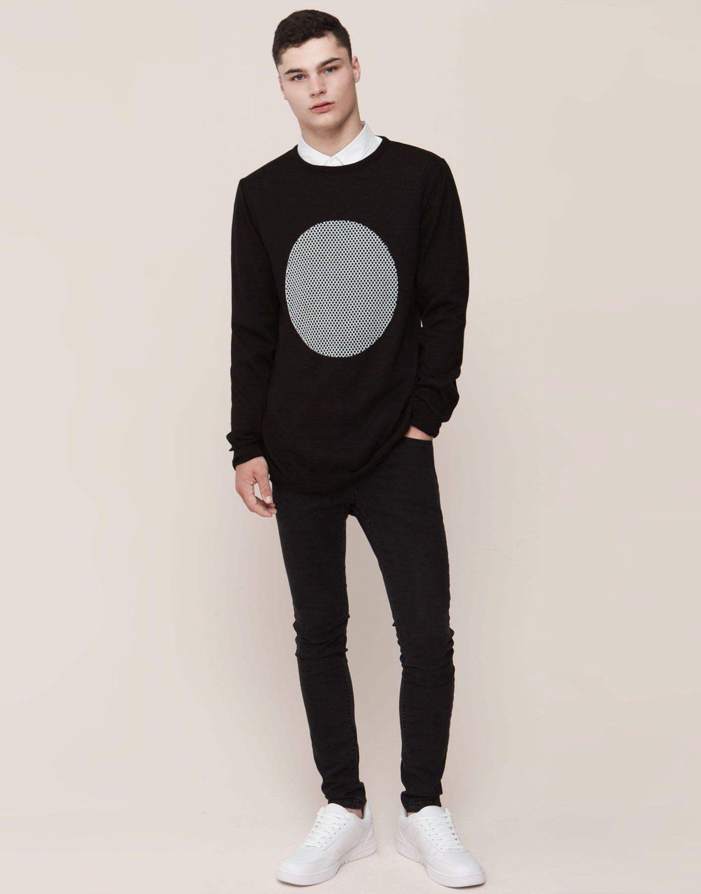 Print Jersey Knitwear Man Pull Bear Israel Knitwear Men Hipster Outfits Mens Shirts