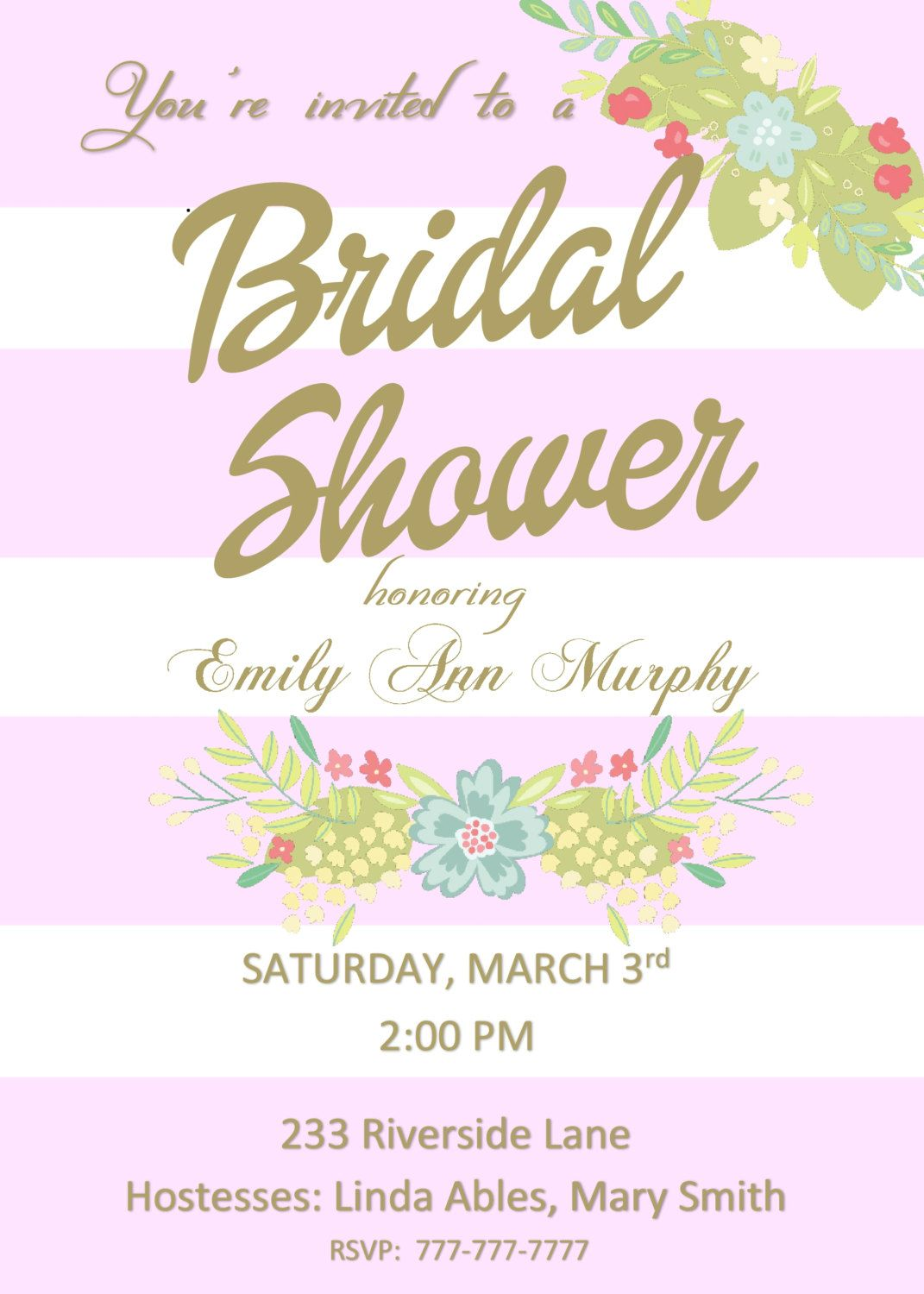 Diy printable pink and white bridal shower invitation with