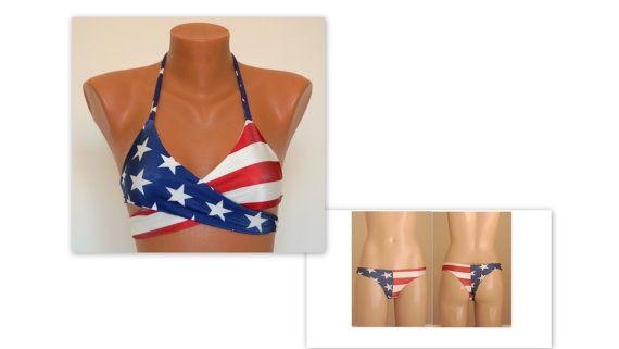 Padded American Flag Wrap Around Top And Matching Cheeky Bottoms Swimsuit 4th July Bikini Flag Bikini Swimwear Bathing Suit Xs S M L Xl