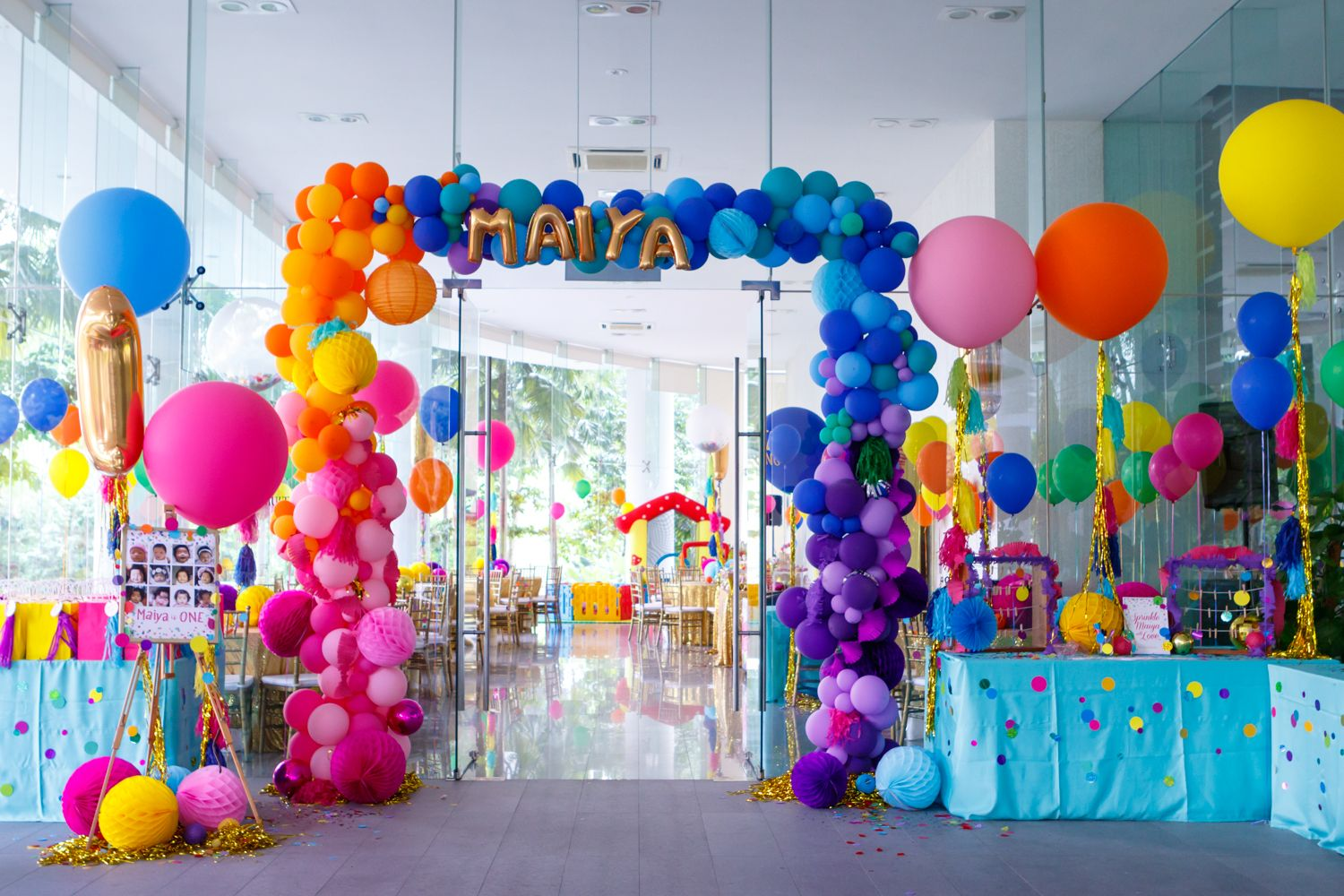 Welcome Balloon Entrance Arch Confetti Rainbow Party