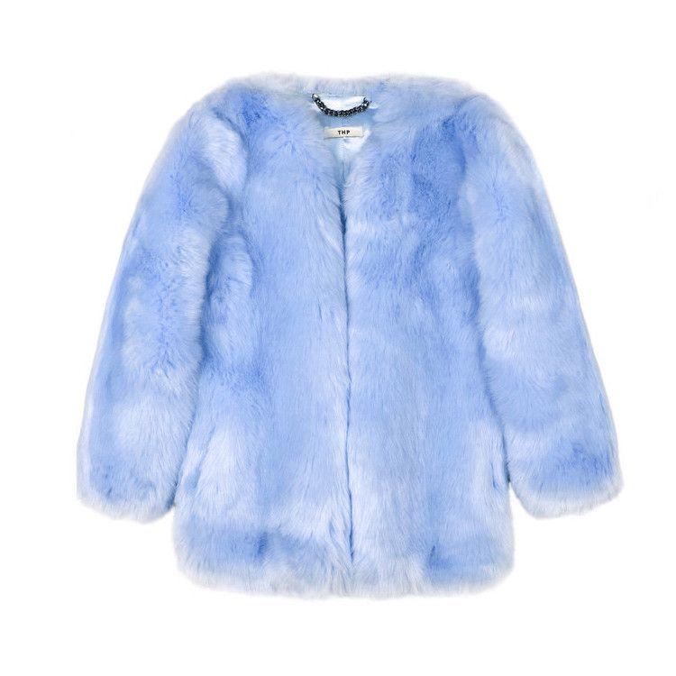 Baby Blue Faux Fur Coat Faux Fur Jacket Coat Blue Faux Fur Coat Jacket Coat Fashion