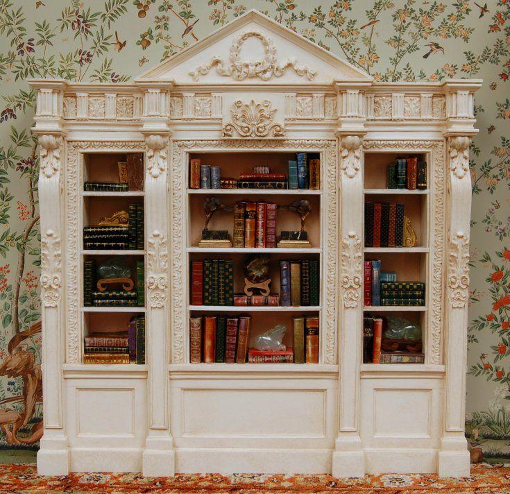 Ornate Bookcase In Antique White