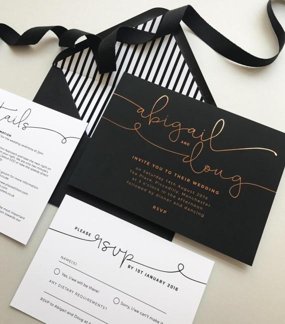 Foil printed Kate wedding invitations