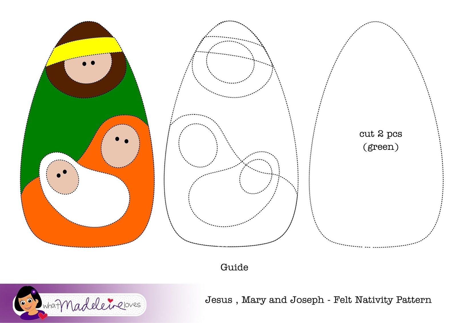Moldes Presépio em Feltro ou e.v.a: Esquema de Montagem Jesus, Maria e José. Felt.  *What Madeleine Loves * felt nativity