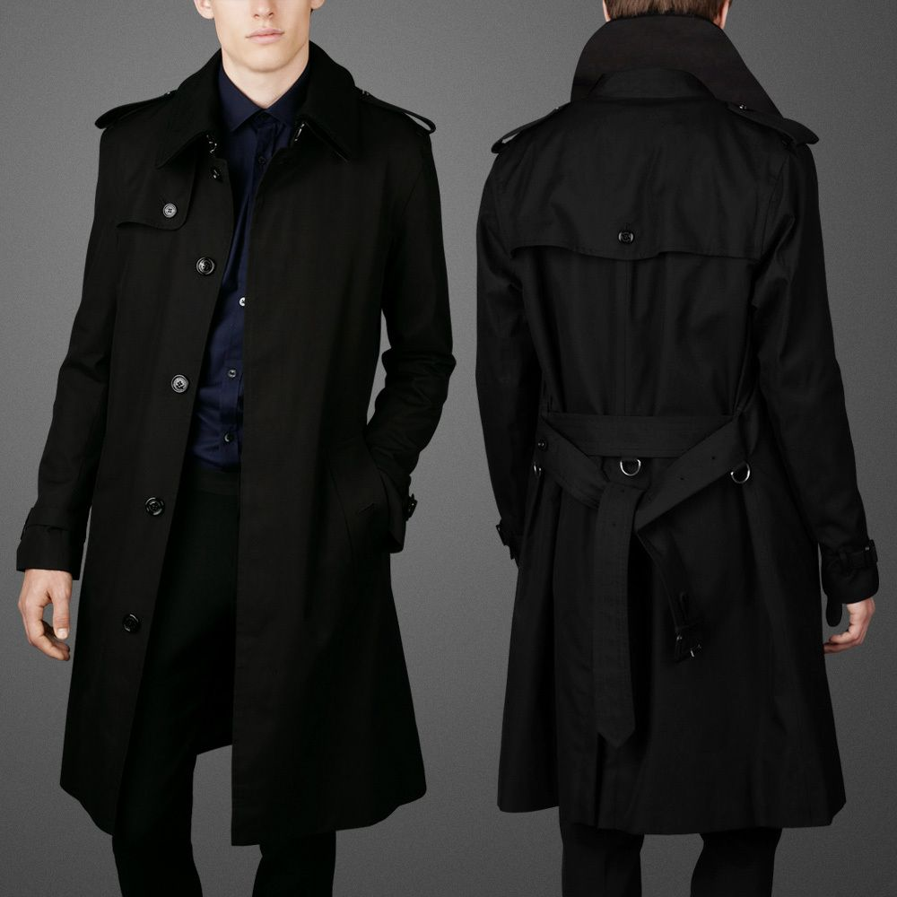 Mens Trench Coat Black v0clV3