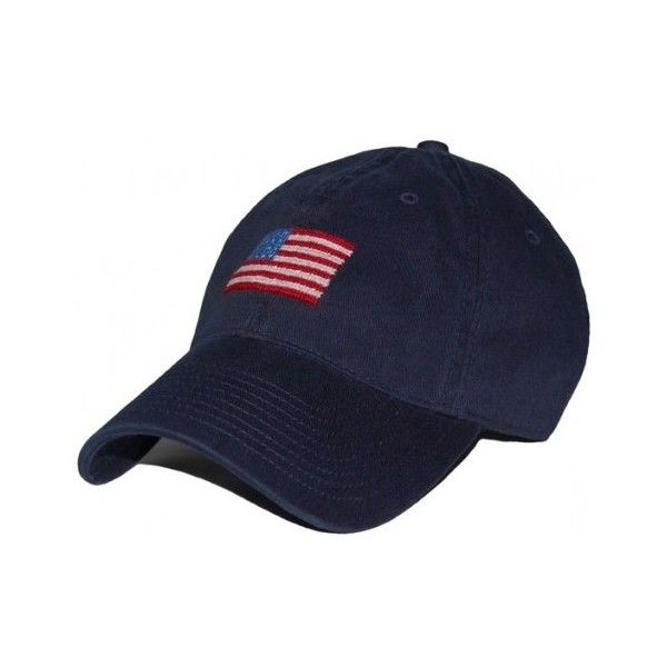 b8fb5a994eb American Flag Needlepoint Hat in Navy by Smathers Branson ( 35) ❤ liked on  Polyvore featuring accessories