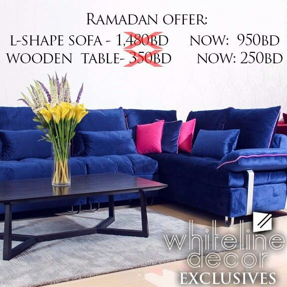 Whiteline Decor Ramadan Exclusives L Shaped Velvey Dofa At Only 950bd From The Original Price Of 1 480bd Dark Mahogany Table A With Images Decor L Shaped Sofa Furniture
