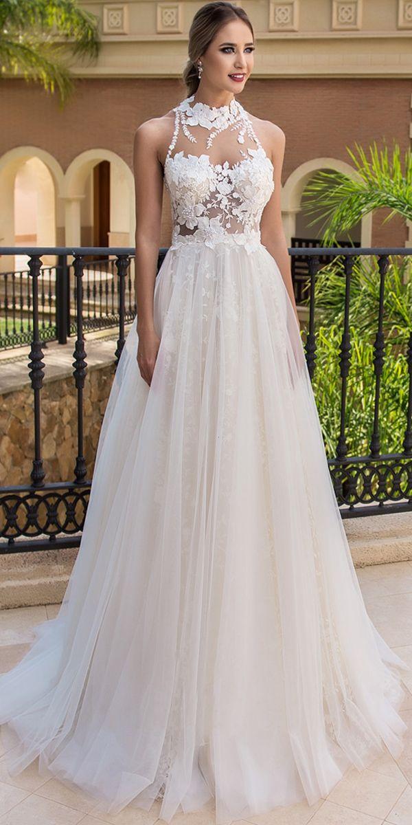 Magbridal Stunning Tulle High Collar Aline Wedding
