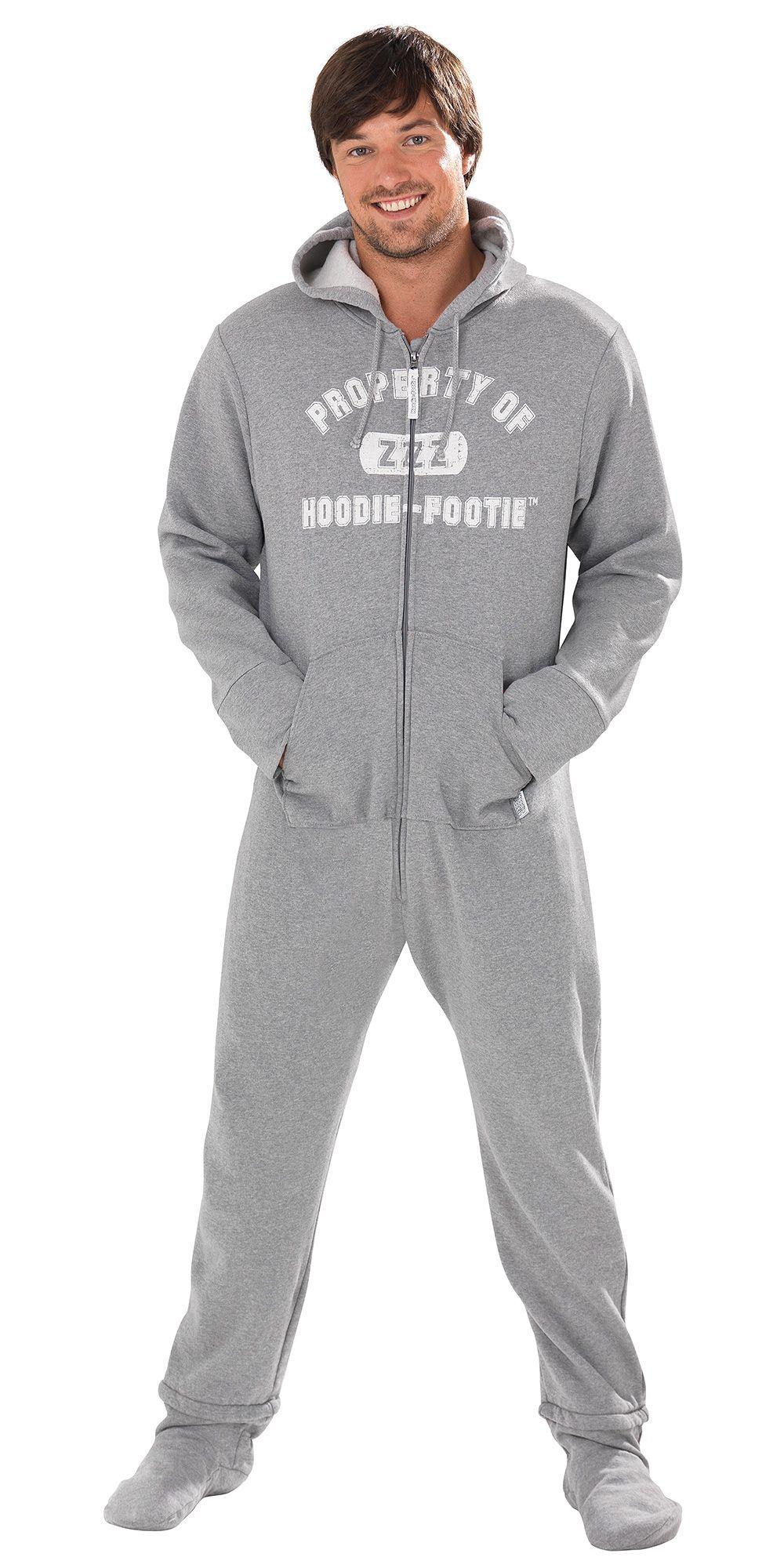 Hoodie-Footie™ for Men - Gray Varsity from PajamaGram.  79.99  HoodieFootie   Men  Pajamas 848995a305