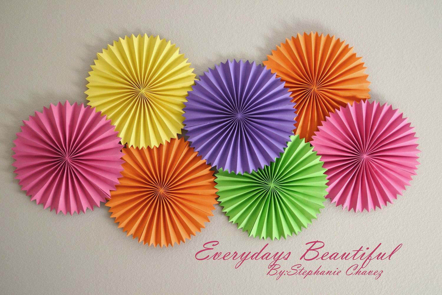 7 Large Party Rosettes Pinwheels Choose Your Colors