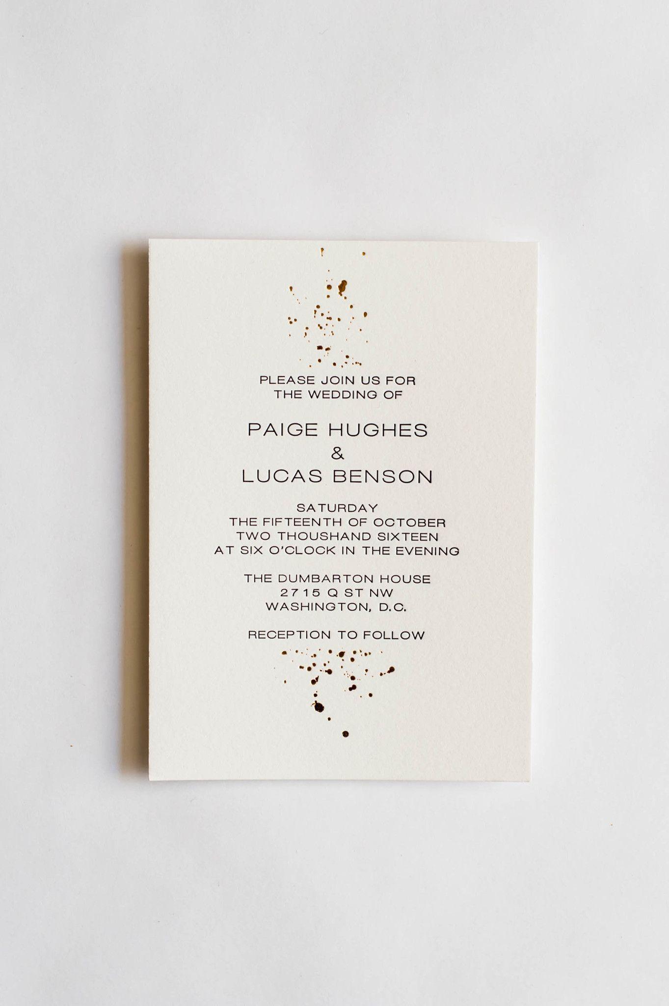 Paige collection gold foil and letterpress ink splatter wedding