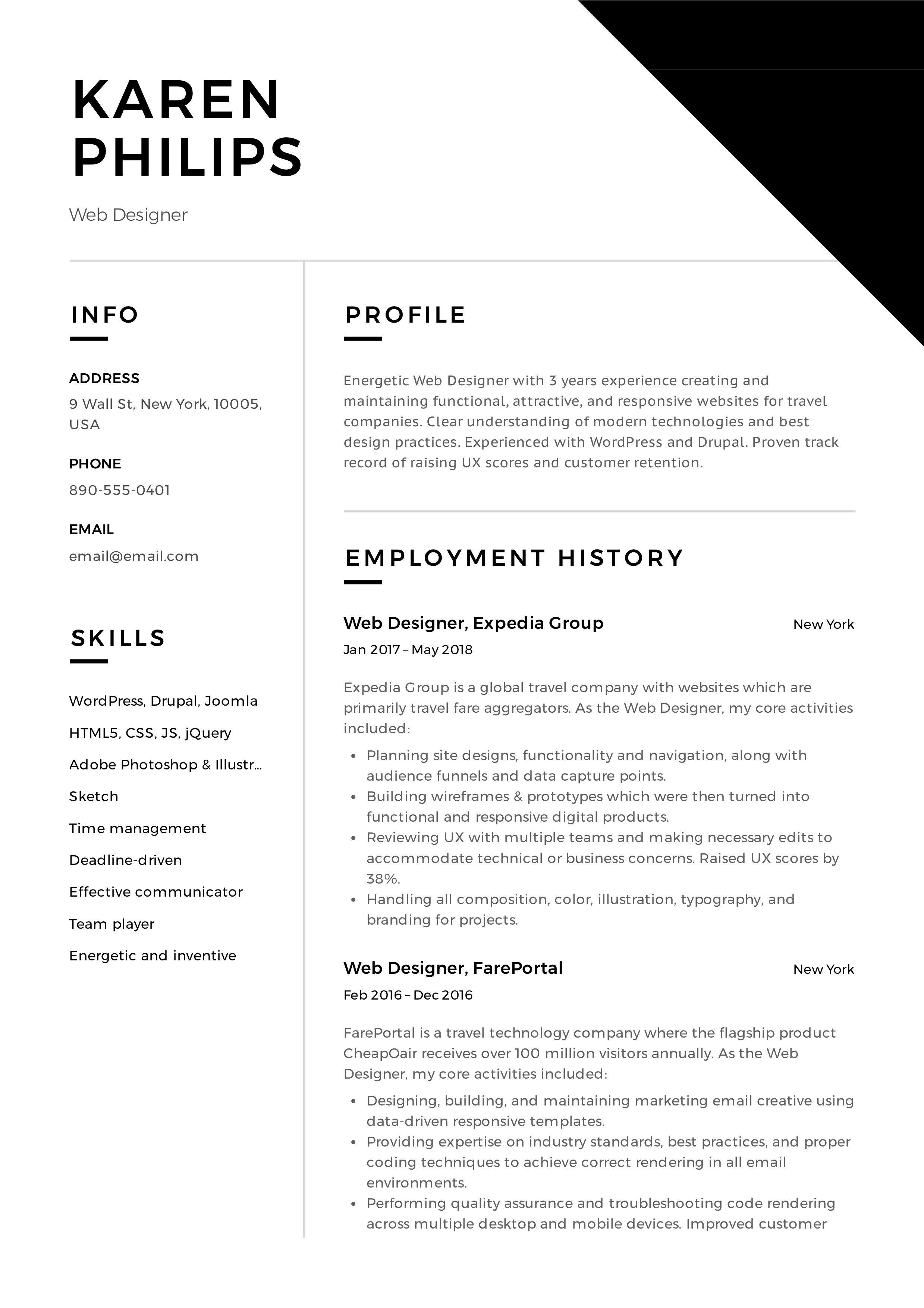 Web Designer Resume Example Event Planner Resume Professional Resume Examples Free Resume Examples