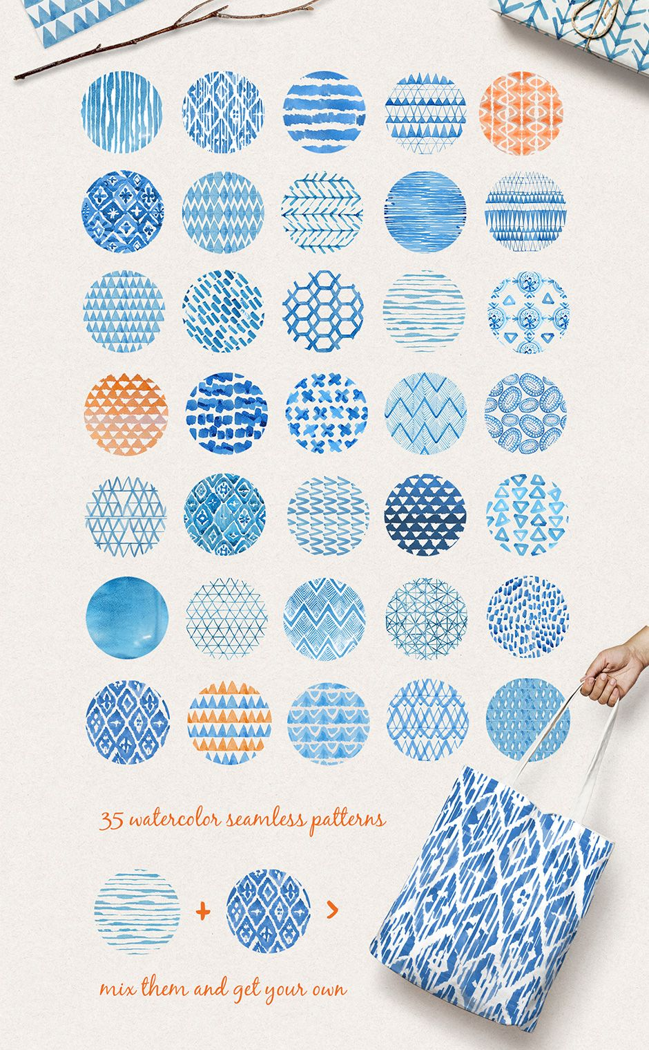 Indigo Watercolour Patterns Pack In 2020 Watercolor Pattern