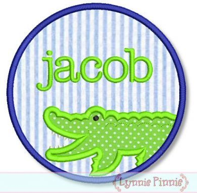 CIRCLE ALLIGATOR Frame 4x4 5x7 6x10 7x11 Machine Embroidery Design ...