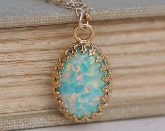 Opals etsy opals pinterest etsy search and opals rare mint seafoam genuine opal gold filled opal gemstone necklacelarge opal pendantrainbowoctober birthstonelab created usd by mozeypictures Gallery