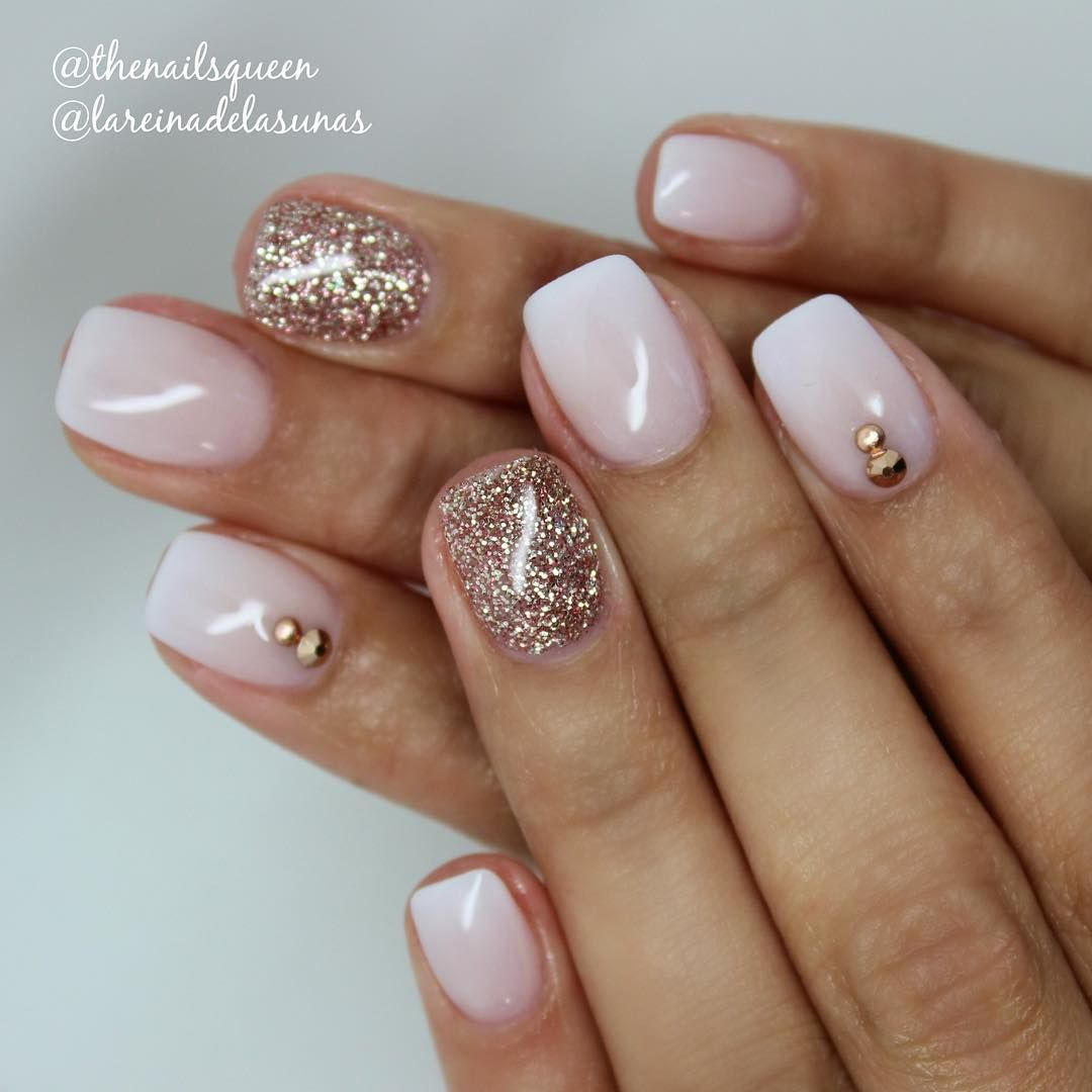 Soft French Ombre W Rhinestone Placement Glitter Accent Nail