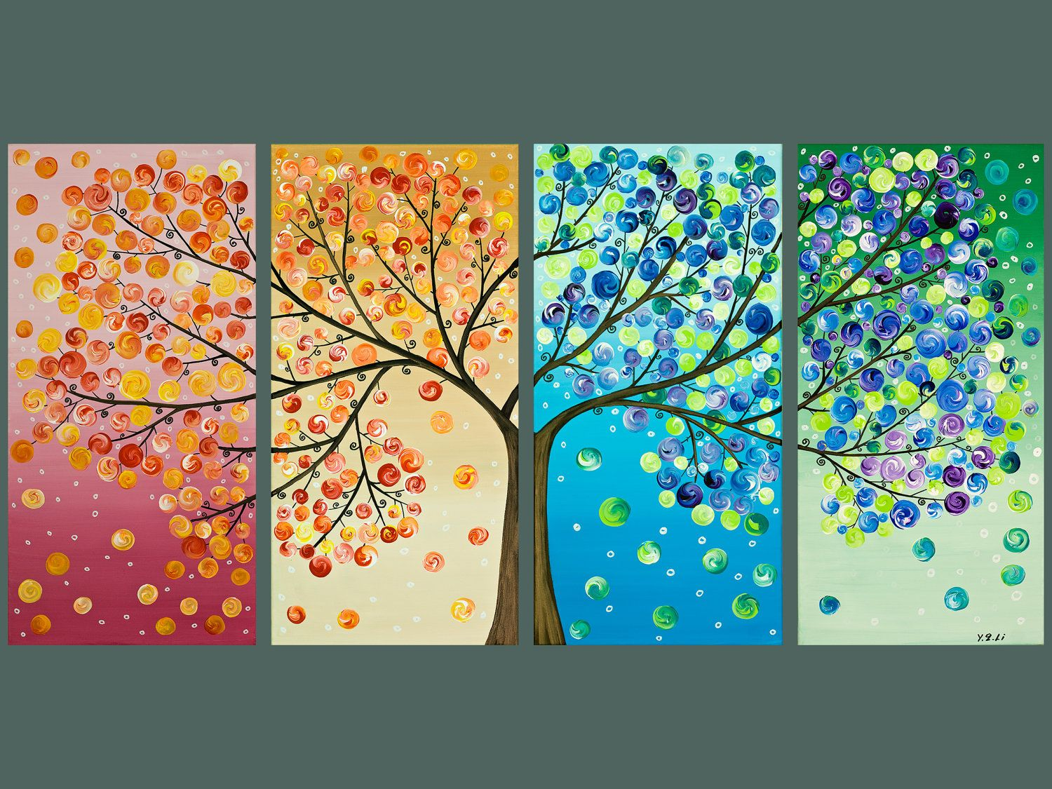 large abstract art Original artwork acrylic gift for her wall art canvas art  four seasons tree