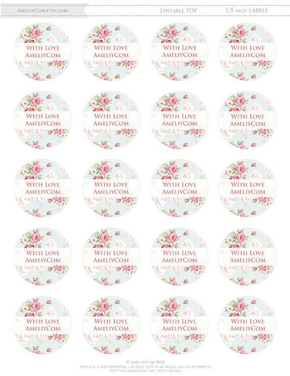 Printable Labels, Stickers, Tags Shabby Chic Editable DIY