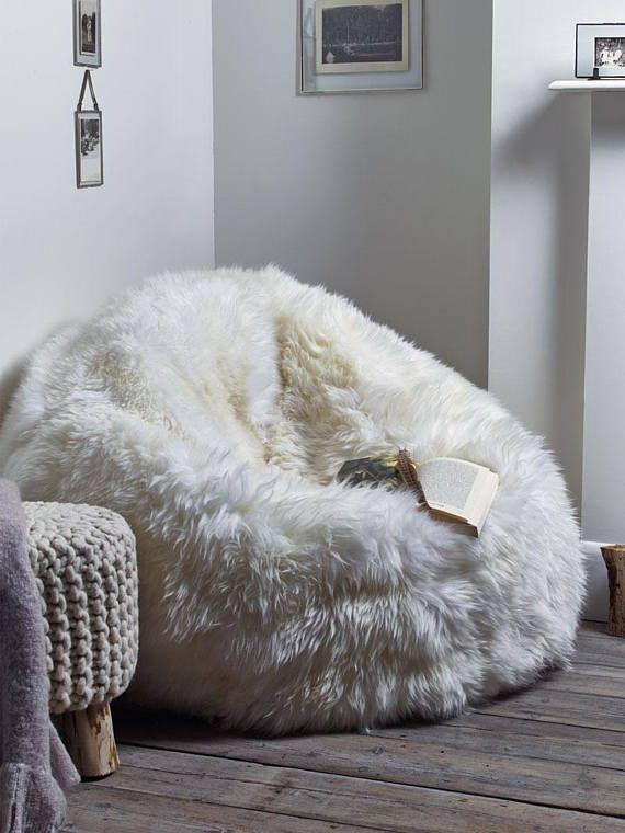 Sheepskin Pouf Lamb Pouf White Pouf Large Pouf Fur Pouf Comfortable Stunning Sheepskin Pouf Bean Bag
