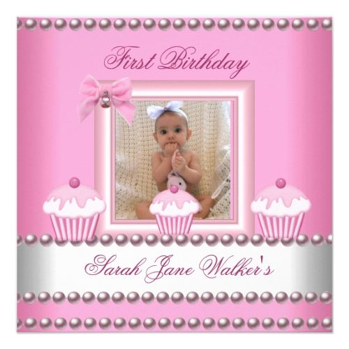 First birthday girl pink cupcakes white baby invitation pink first birthday girl pink cupcakes white baby card stopboris Choice Image