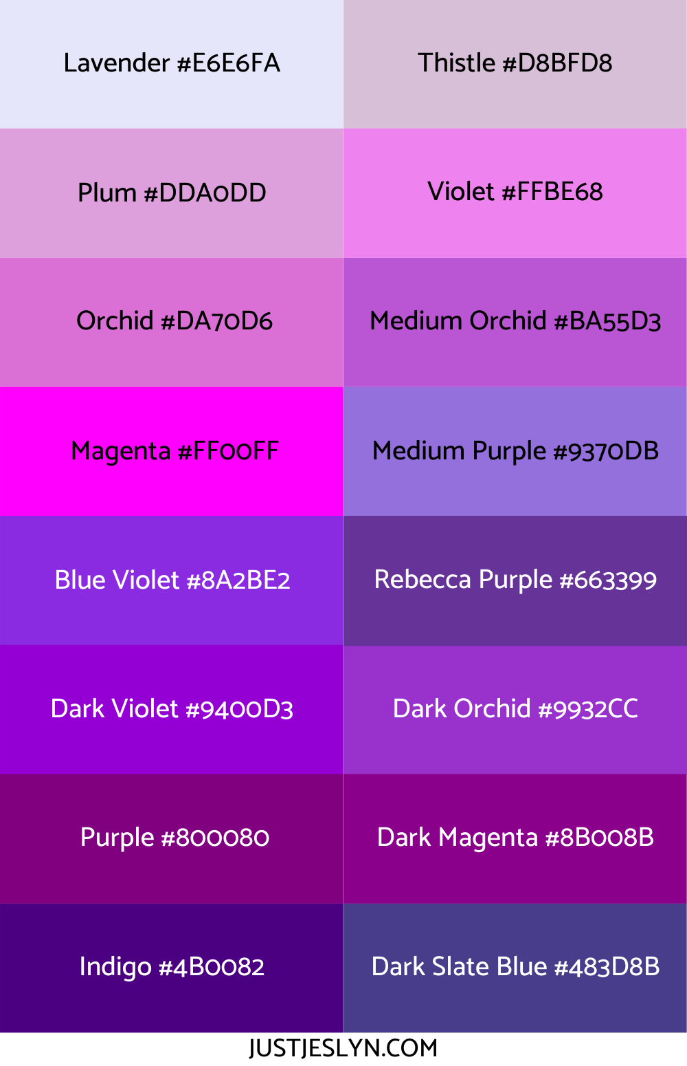 hex codes just jes lyn cool names