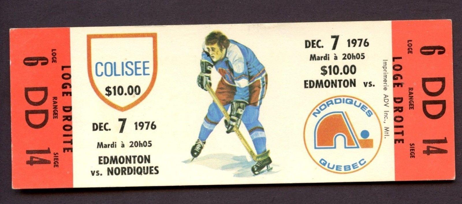 1976 WHA Ticket Stub Edmonton Oilers vs. Quebec Nordiques