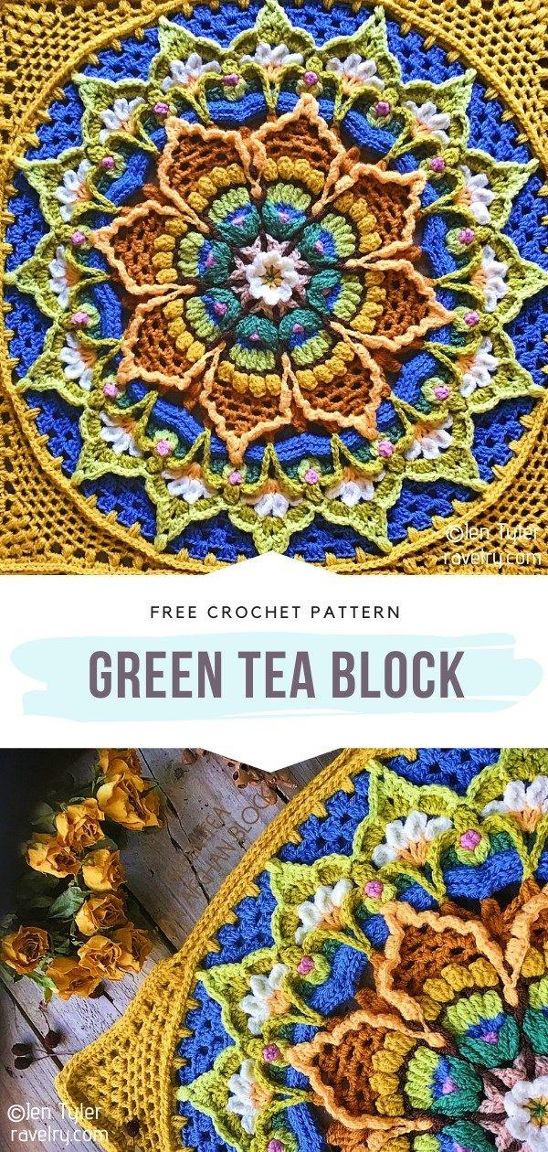How to Crochet Green Tea Block